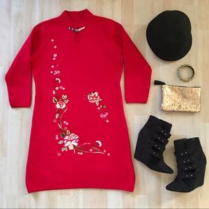 Red embroidered long sleeve knee-length dress
